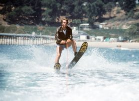 "HAPPY DAYS - ""Fonzie Goes to Hollywood, Part III"" - Season Five - 9/20/77 Fonzie (Henry Winkler) accepted a challenge to jump over a shark tank while water skiing. (ABC PHOTO ARCHIVES)"